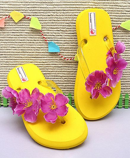 33f6ae773e Buy DChica Flower Decorated Flip Flops Yellow for Girls (4-5 Years) Online,  Shop at FirstCry.com - 2901087
