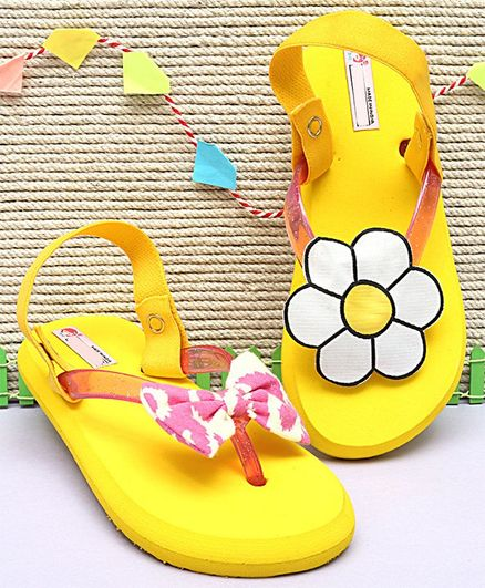 335a0e31ac Buy DChica Bow & Flower Decorated Mismatch Flip Flops Yellow for Girls (2-3  Years) Online, Shop at FirstCry.com - 2901131
