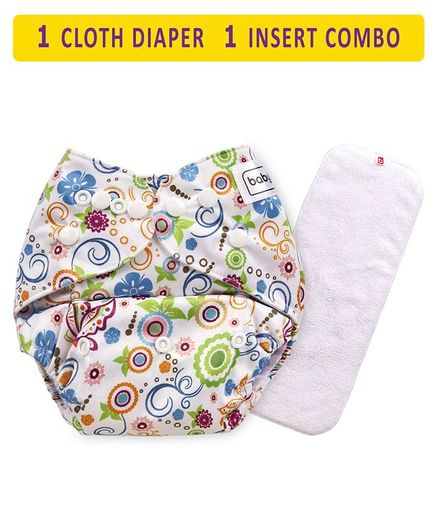 Babyhug Free Size Reusable Cloth Diaper With Insert - White (Packaging MAy Vary)