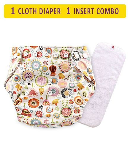 Babyhug Free Size Reusable Cloth Diaper With Insert Floral Print - Cream