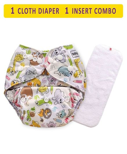 Babyhug Free Size Reusable Cloth Diaper With Insert Animal Print - White