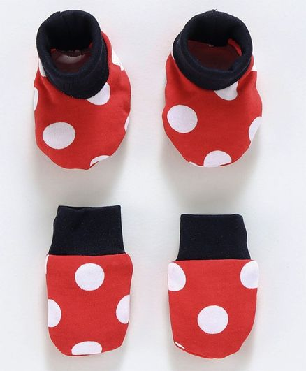 Babyoye Cotton Mittens & Booties Set Dots Print - Red