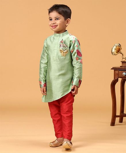 KIRTI AGARWAL PRET N COUTURE Butterfly Sequin Patch Full Sleeves Kurta With Pajama - Green & Red