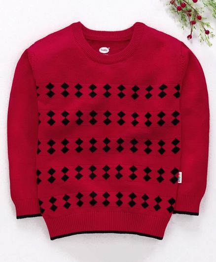 Teddy Full Sleeves Sweater Geometric Design - Red