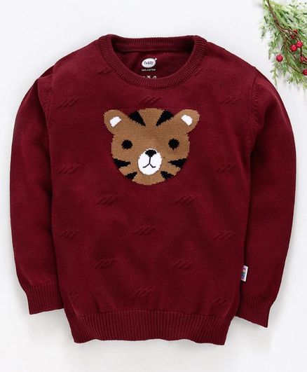 Teddy Full Sleeves Sweater Tiger Design - Maroon