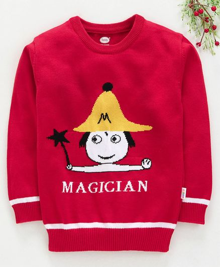 Teddy Full Sleeves Sweater Magician Design - Red