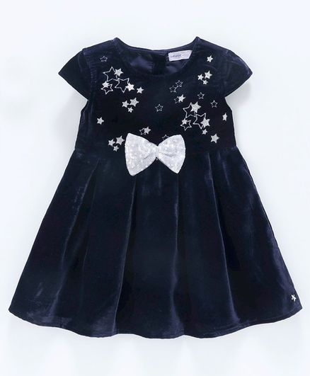 Babyoye Cap Sleeves Frock Star Embroidered - Navy