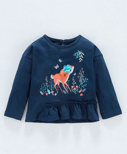 Babyoye Full Sleeves Cotton Top Deer Print - Navy Blue