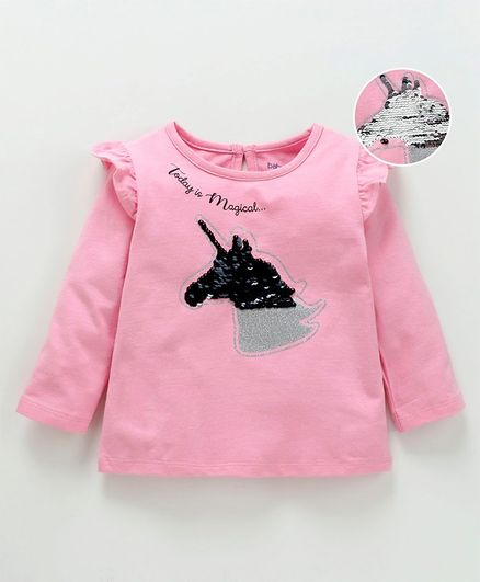 Babyoye Full Sleeves Cotton Top With Colour Changing Sequin Unicorn Patch - Pink