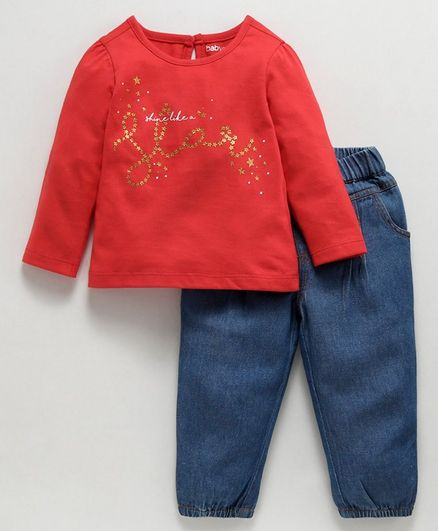 Babyoye Full Sleeves Tee And Pull On Jeans Shine Like A Star Print - Red Blue