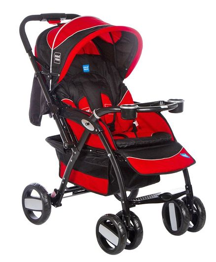 Mee Mee Advanced Baby Pram With Shock Absorber Wheels - Red
