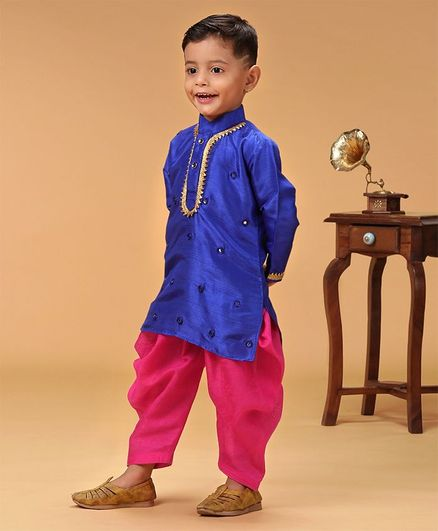 KID1 Mirror Work Full Sleeves Kurta & Dhoti Set - Blue & Pink