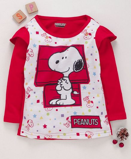 Eteenz Full Sleeves T-Shirt Snoopy Print - Red