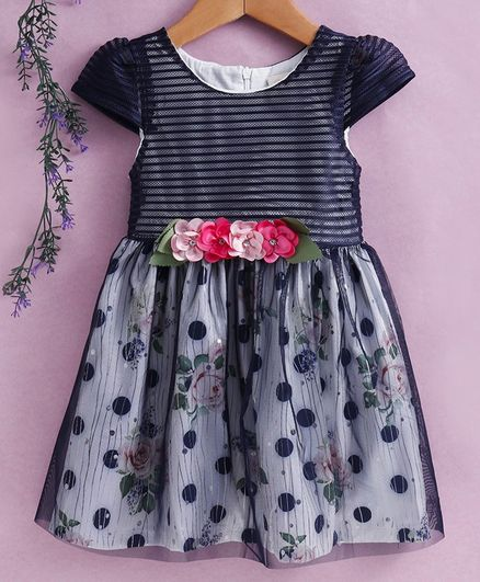 Smile Rabbit Cap Sleeves Party Wear Frock Floral Print - Navy