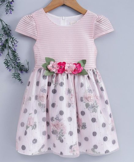 Smile Rabbit Cap Sleeves Party Wear Frock Floral Print - Peach