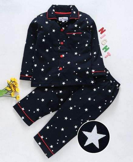Nite Flite Star Print Full Sleeves Night Suit - Navy Blue