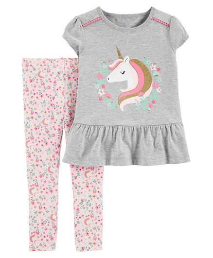 Carter's 2 Piece Unicorn Peplum Top & Floral Legging Set - Grey