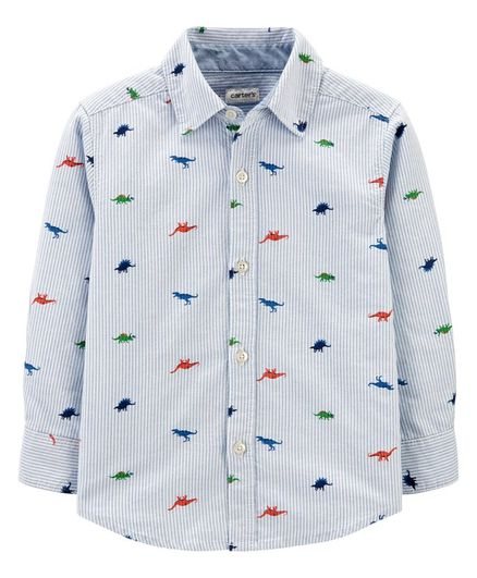 Carter's Full Sleeves Striped Shirt Dinosaur Print - Blue