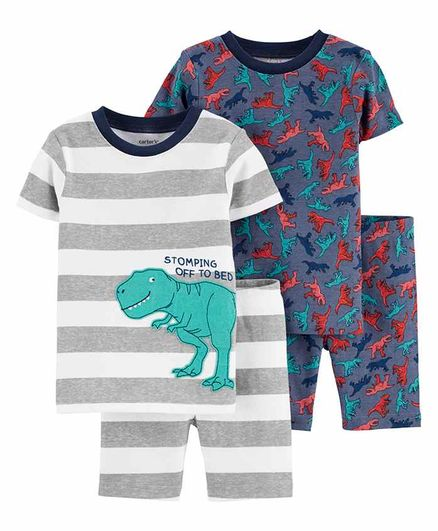 Carter's 4-Piece Dinosaur Snug Fit Cotton PJs -Multicolour