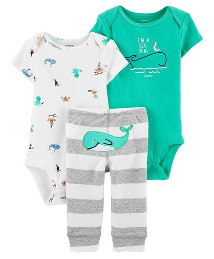 Whales Blue Pink NWT Carter/'s Girls/' 3-piece Diapercover Set