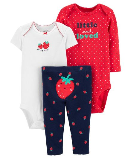 Carter/'s Infant Girls 3-Piece Jacket Set Peach Strawberries NWT outfit