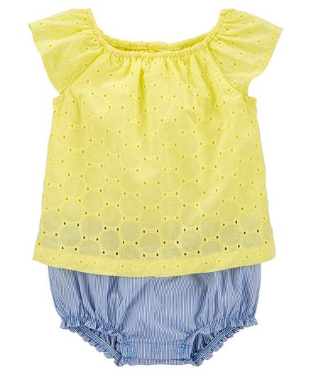 Carter's Embroidered Eyelet Sunsuit - Yellow Blue