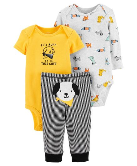 Carter's 3 Piece Dog Little Character Set - Yellow Black Grey