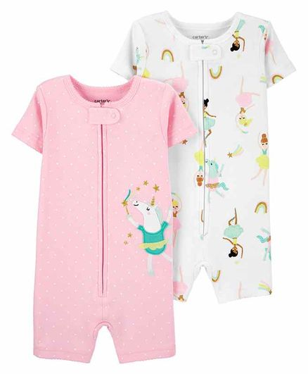 Carter's 2-Pack Snug Fit Cotton Sleep Suit - White Pink
