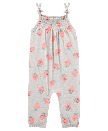 Carter's Strawberry Tank Jersey Jumpsuit - Grey