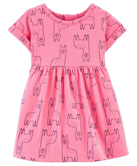 Carter's Llama Jersey Dress - Pink