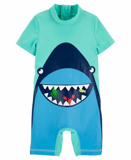 Carter's 1-Piece Shark Rashguard - Green