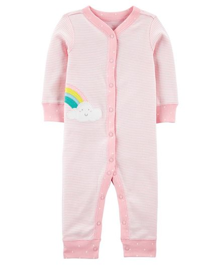 Carter's Rainbow Snap-Up Cotton Footless Sleep & Play - Pink