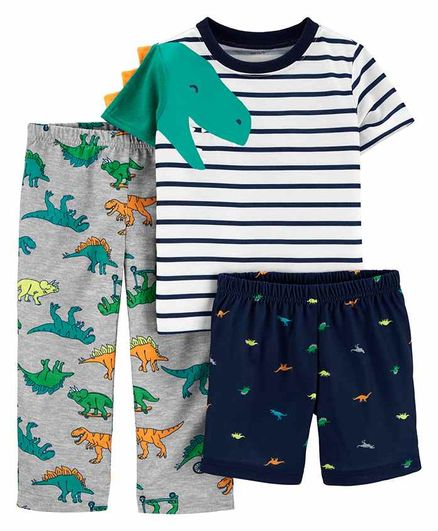 Carter's 3 Piece Half Sleeves Night Suit Combo Set Dino Print - Grey White