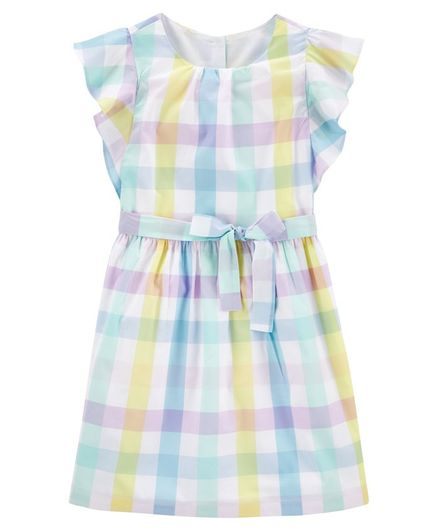 Carter's Gingham Poplin Dress - Blue Yellow
