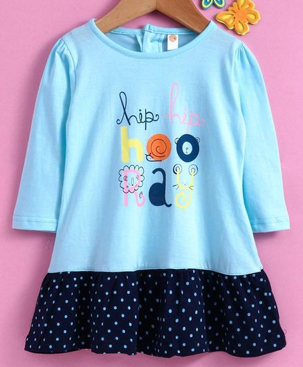 Dew Drops Full Sleeves Frock Hip Hop Print - Blue