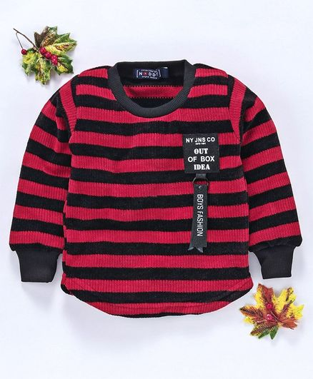 Noddy Striped Full Sleeves Sweater - Red