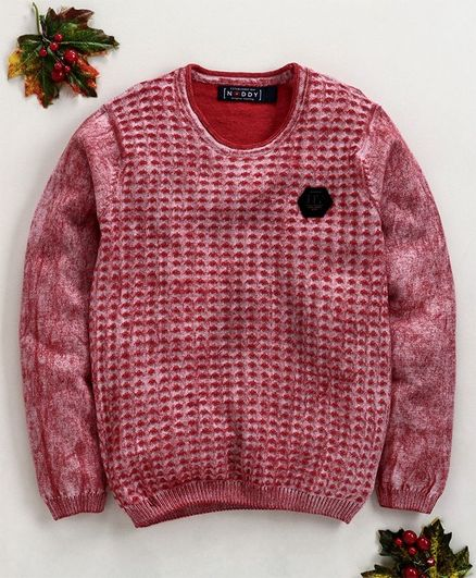 Noddy Flat Knit Ball Wash Full Sleeves Sweater - Red