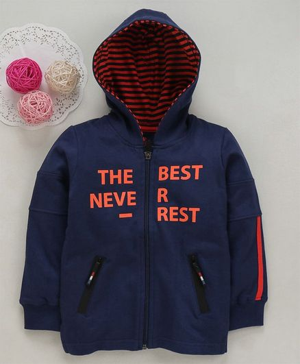 UFO The Best Never Rest Print Full Sleeves Hooded Jacket - Navy Blue