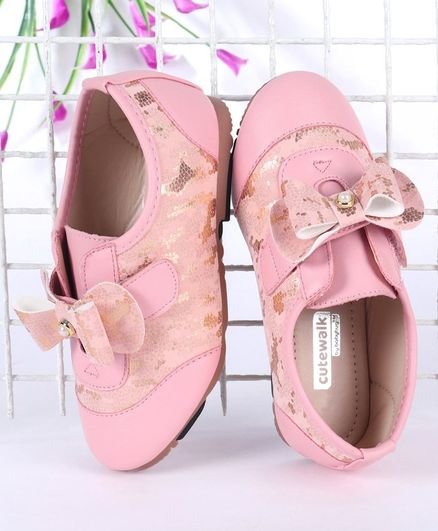 Cute Walk by Babyhug Shimmery Casual Shoes With Bow Motif - Pink