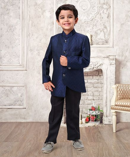 Babyhug Full Sleeves Party Wear Suit With Pant Floral Print - Navy