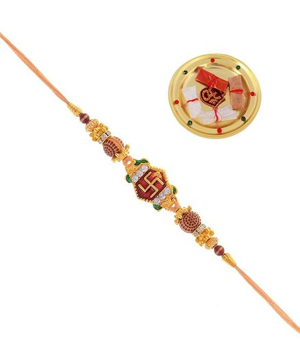 Little Palz Beaded Swastik Rakhi With Pooja Thali Multi Colour Online in  India, Buy at Best Price from Firstcry com - 2936718