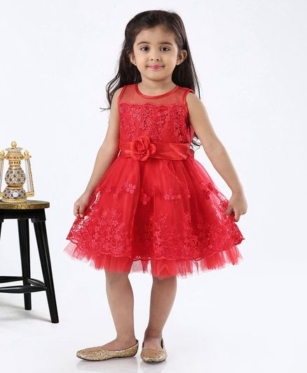 Babyhug Sleeveless Party Wear Frock Flower Detailing - Red
