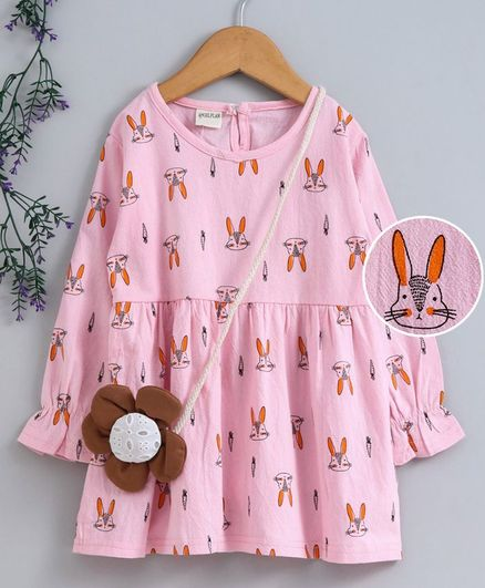 Kookie Kids Full Sleeves Frock With Sling Pouch Bunny Print - Light Pink