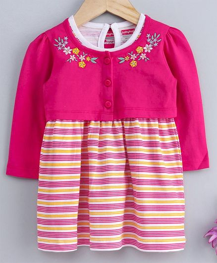 Babyhug Striped Frock With Full Sleeves Shrug Floral Embroidered - Pink