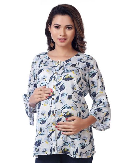 Kriti Full Sleeves Maternity Top Floral Print - White