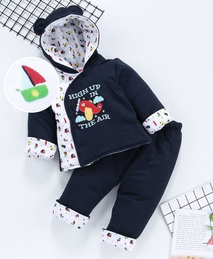 Babyhug Winter Wear Full Sleeves Hooded Tee And Lounge Pant Aeroplane Embroidery - Navy Blue