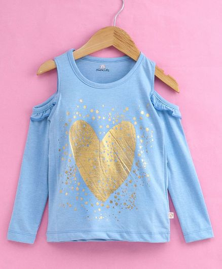 Olio Kids Cold Shoulder Top Heart Print - Sky Blue