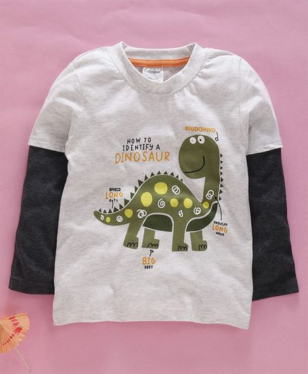 Kookie Kids Full Sleeves Tee Dinosaur Print - Grey