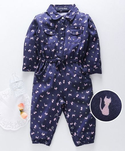 Happiness Full Sleeves Romper Animal Print - Navy Blue