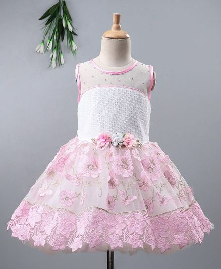 Enfance Flower Embroidered Beaded Sleeveless Netted Fit & Flare Dress - Pink